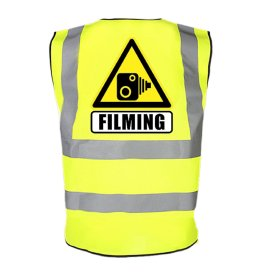 Cyclists Camera Filming Hi Vis Reflective Safety Vest Hazard Warning Drivers to SLOW Bright Fluorescent Yellow Road Safe Help Protect Bike or Horse Riders Cycling Lightweight Breathable