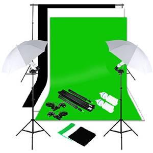 Excelvan Studio Photography Continuous Lighting Kit 2X 125W Flash Light Set with Backdrops Umbrellas1