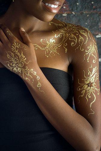 floral-golden-tattoo