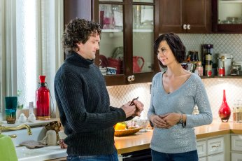 Middleton prepares for a brutal winter storm as Cassie predicts disaster could strike where its least expected. At the same time, Grace has a bad feeling as she shadows Brandon at the police station, and Sam prepares for the worst before his ex-wife%u2019s impending visit. Then, as Cassie charms two Grey House guests, she notices there is something off about them, and enlists Sam%u2019s help. But when he doubts her intuition, they find themselves in a dire situation just as the storm threatens everyone in Middleton. Pictured:Catherine Bell, Jake Simons Photo: Copyright 2015 Crown Media, Inc./Ben Mark Holzberg