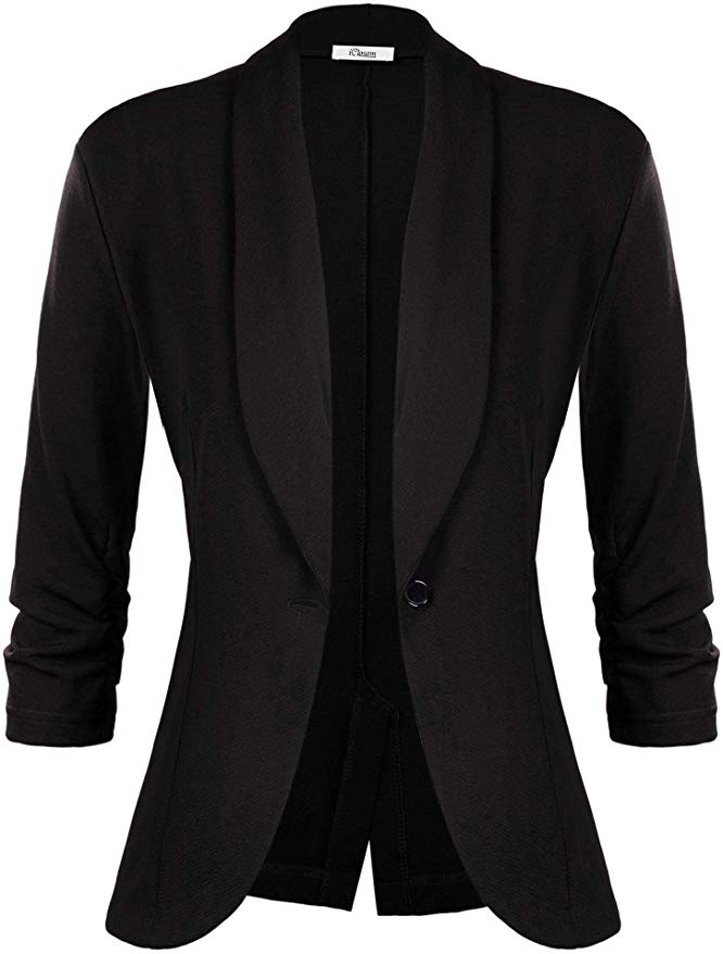 YYNUDA Womens Casual Work Office Blazer Pockets Buttons Long Sleeve Suit Jackets
