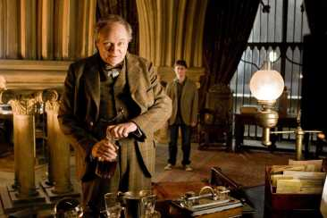 """(L-r, foreground) JIM BROADBENT as Professor Horace Slughorn and DANIEL RADCLIFFE as Harry Potter in Warner Bros. Pictures' fantasy """"Harry Potter and the Half-Blood Prince."""" PHOTOGRAPHS TO BE USED SOLELY FOR ADVERTISING, PROMOTION, PUBLICITY OR REVIEWS OF THIS SPECIFIC MOTION PICTURE AND TO REMAIN THE PROPERTY OF THE STUDIO. NOT FOR SALE OR REDISTRIBUTION"""