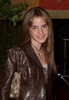 Emma Watson brown leather jacket at Westwood Chamber of Secrets premiere in 2002 2