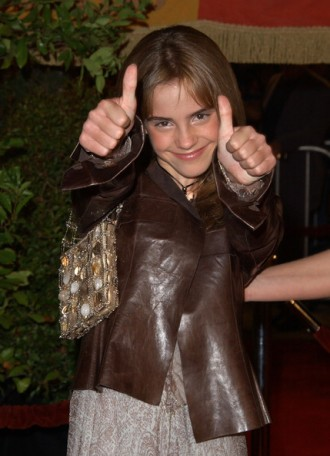 Emma Watson brown leather jacket at Westwood Chamber of Secrets premiere in 2002 4