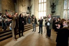 Director - David Yates and Producer - David Barron with Alan Rickman (Snape) and David Thewlis (Remus Lupin) in the Great Hall. (SC230)