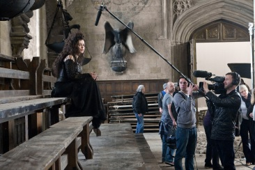 Helena Bonham Carter (Bellatrix) being interviewed by EPK. The Great Hall. (SC346F)