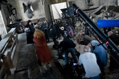 Molly (Julie Walters) and Bellatrix (Helena Bonham Carter) fight in the Great Hall. (SC346F)