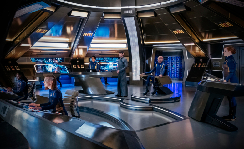 ÒWill You Take My Hand?Ó -- Episode 115 -- Pictured (l-r): Oyin Oladejo as  Joann Owosekun; Emily Coutts as Keyla Detmer; Sonequa Martin-Green as Michael Burnham; Ronnie Rowe as  Bryce; James Frain as Sarek; Doug Jones as Saru; Mary Wiseman as Sylvia Tilly; of the CBS All Access series STAR TREK: DISCOVERY. Photo Cr: Jan Thijs/CBS © 2017 CBS Interactive. All Rights Reserved.