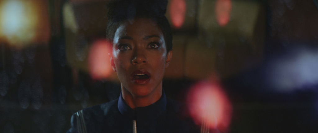 Ep #201 - Pictured: Sonequa Martin-Green as Michael Burnham of the CBS All Access series STAR TREK: DISCOVERY. Photo Cr: Best Possible Screengrab/CBS © 2018 CBS Interactive. All Rights Reserved.